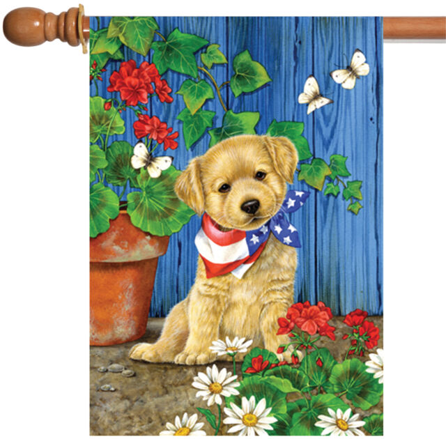 Toland Home Garden Patriotic Puppy 28 x 40in Decorative USA-Produced House  Flag