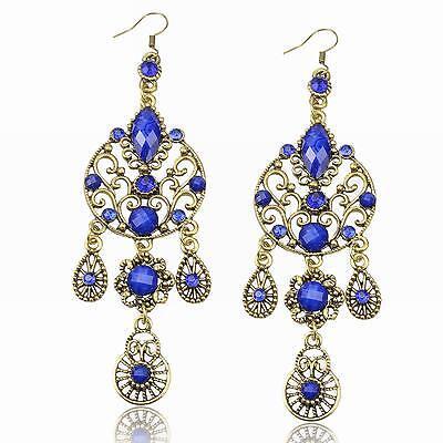 Blue Fringe Copper Rhinestone Gemstone Eardrop Dangle Hook Statement Earrings