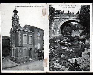 FERRALS-des-CORBIERES (11) MAIRIE à CLOCHER & PONT sur REC-GRAND animé en 1914