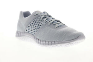 Reebok Print Lite Rush CN2606 Mens Gray Canvas Lace Up Athletic Running Shoes