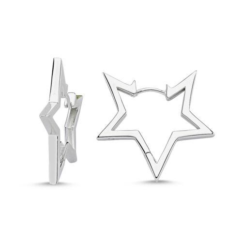 glänzend Silber 925 Ohrringe Silber Creolen Stern groß Stern Ohrringe