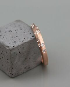 Details About 1ct Round Cut Diamond Knife Edge Unique Wedding Band Ring 14k Rose Gold Finish