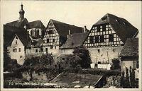 Wimpfen am Biersch Baden Württemberg Postkarte 1932 Teilansicht Fachwerk Häuser