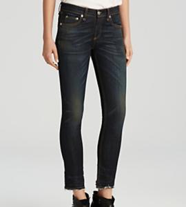 Rag and Bone Santiago Dark Wash Straight Leg Raw Hem Crop Jeans Size 24