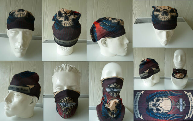 Head/Face/Mask/Neck Multi-wear tube Bandana/Durag.SPF5,Biker/wrap. SKULL. scarf