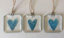 Fused Glass Blue Heart Love Token Sun Catcher Tile Hanging Wedding Favour Gift
