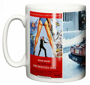 Dirty Fingers Mug, Roger Moore James Bond For Your Eyes Only, Film Design Poster