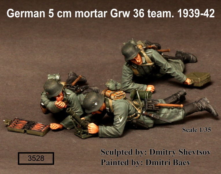 1 35 Escala Ww2 Alemán Mortero Grw 36 Team.1939-42 3 Figuras