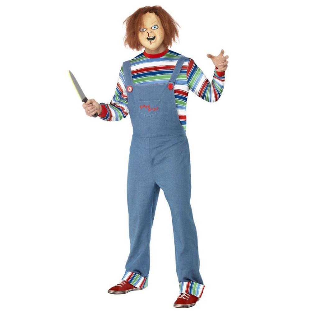 Official Mens Chucky Doll Fancy Dress Halloween Horror Costume Outfit