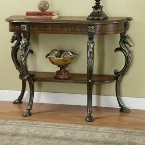 Accent Console Sofa Table Carved Wood