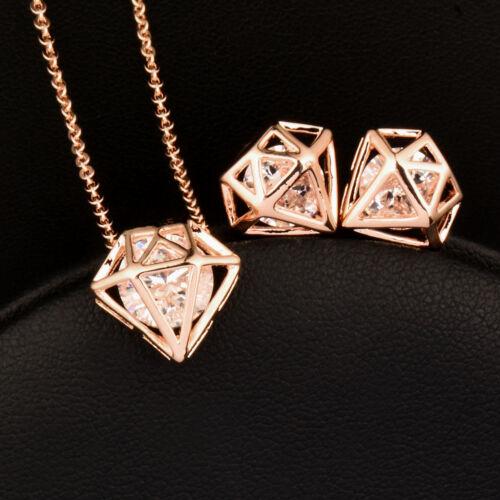 New Fashion Zircon Intérieur en forme de losange Collier Boucles d/'oreilles Bijoux Set For Women