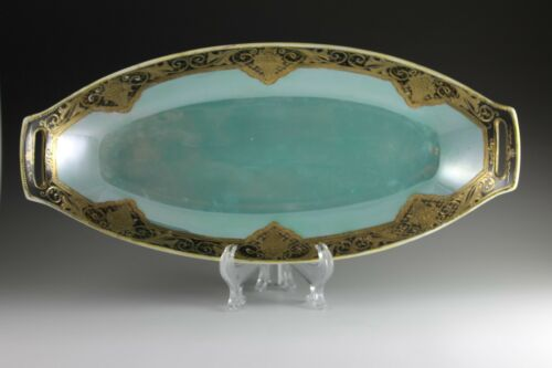 Beautiful Noritake Oblong Oval Dish Iridescent Lustre Two Handle Teal Black Gold