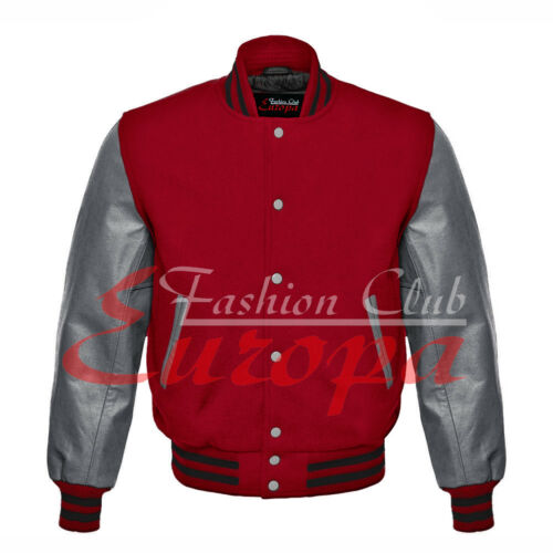 Wool Leather Real Body University Letterman Sleeve Varsity Red Jacket 4xl Xs New AxS70IqWwS