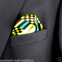 100% Silk Mens Hanky Pocket Square Rush Limbaugh No Boundaries Weave Yellow
