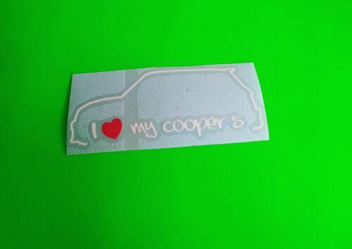 Me encanta mi mini Cooper S Coche Ventana Parachoques Vinilo Calcomanía//etiqueta engomada de la computadora portátil van