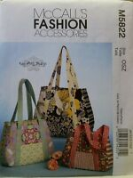 McCALL'S 5822 PATCHWORK BAGS TOTE HAND BAG PURSE SEWING PATTERN 3 SIZES NEW Craft Supplies