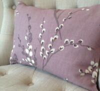 "12x16""  cushion cover in Laura Ashley Pussy Willow Grape & Austen Natural"