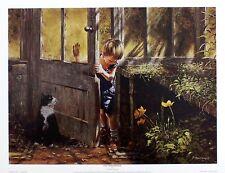 """Paul Monteagle """"Greenhouse"""" Boy Cat Art PRINT SIZE:43cm x 33cm BROWSE OUR SHOP"""