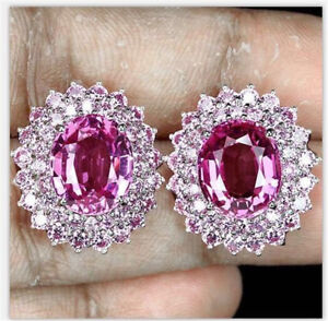 Chic-925-Silver-Pink-Sapphire-Women-Jewelry-Dangle-Wedding-Party-Stud-Earrings