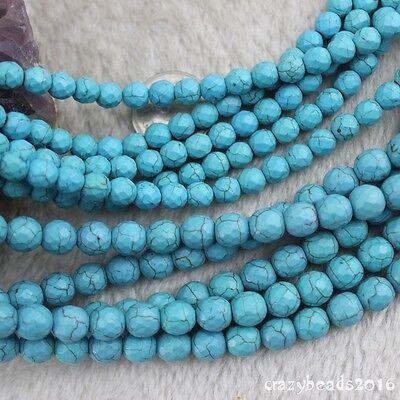 """15/"""" Strand 8mm Round Natural White Howlite Turquoise Gemstone Beads"""
