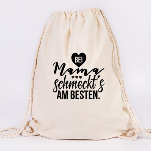 """Farben Tasche JUNIWORDS Turnbeutel Motiv /""""Bei Mama schmeckt´s am besten/"""" ver"""