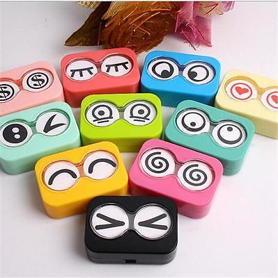 Travel Mini Cute Eye Shape Contact Lens Case Box Container Holder Tweezers Set