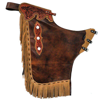 Western Brown Leather Bull Rodeo Chaps with MAtching Filigree