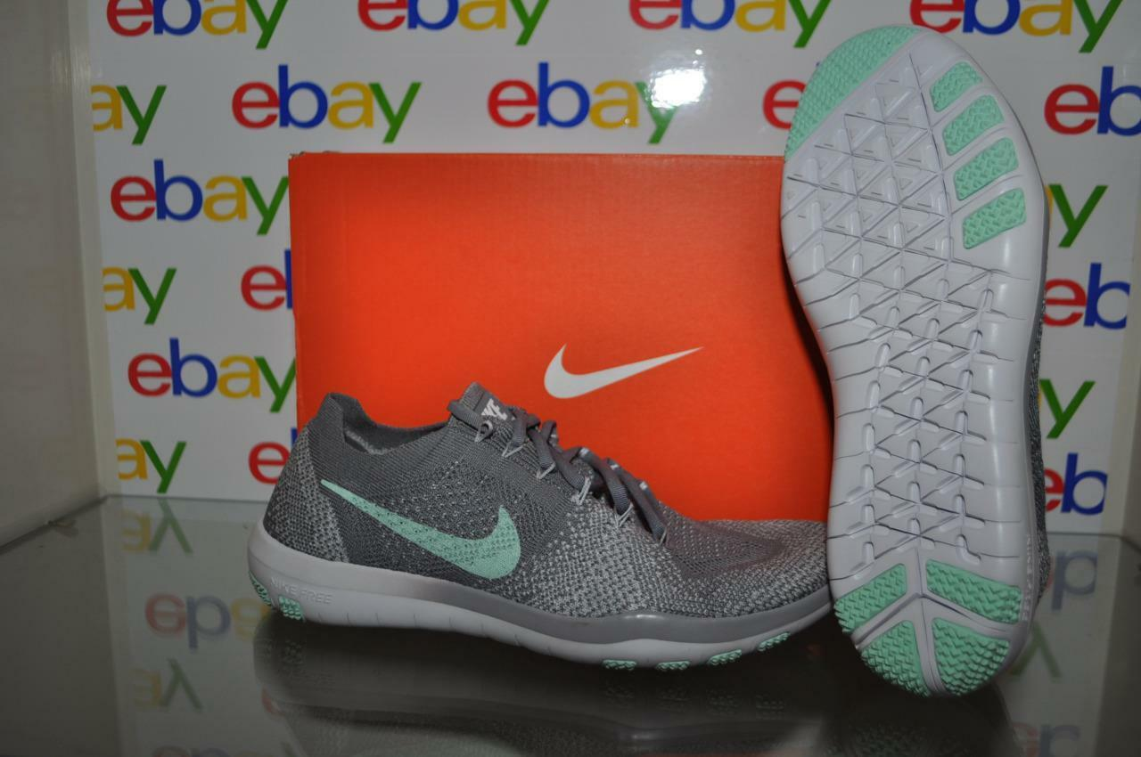 Nike Free Focus Flyknit 2 Womens Running Shoes 880630 003 Gray/Artic Green NIB