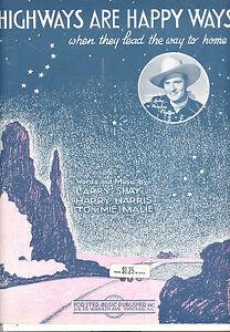 """Musikinstrumente Radient Mountain Rhythmus Notenblatt """" Highways Are Happy Möglichkeiten """" Gene Autry Um Der Bequemlichkeit Des Volkes Zu Entsprechen"""
