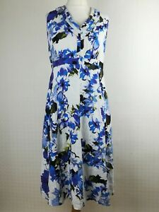 Per-Una-M-amp-S-White-Blue-Smart-Career-Empire-Aline-Flared-Dress-Size-18