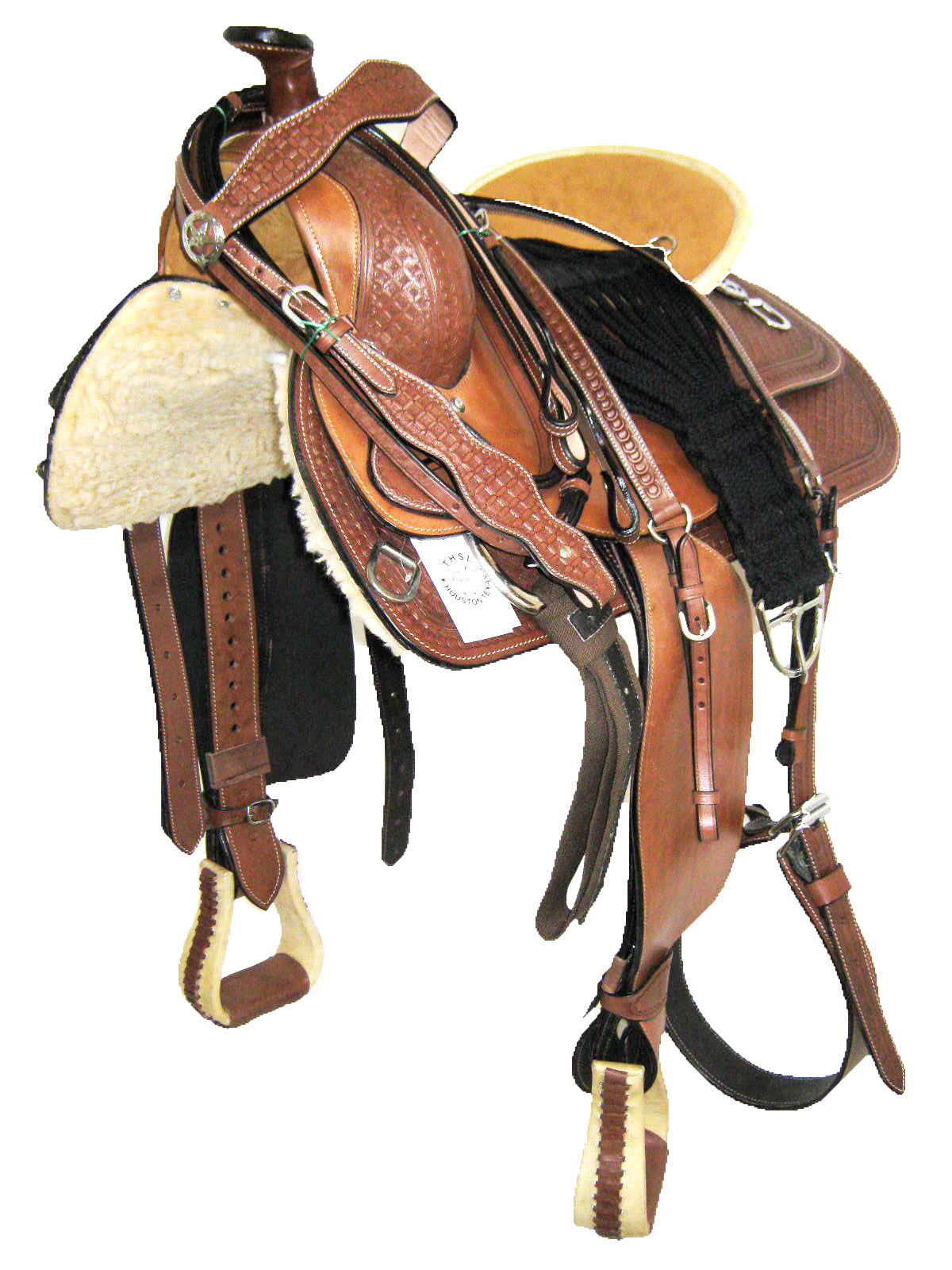 'THSL' WESTERN ROPER RANCH SADDLE  SET BROWN NATURAL- goldEN SEAT 17  (1070)  wholesape cheap