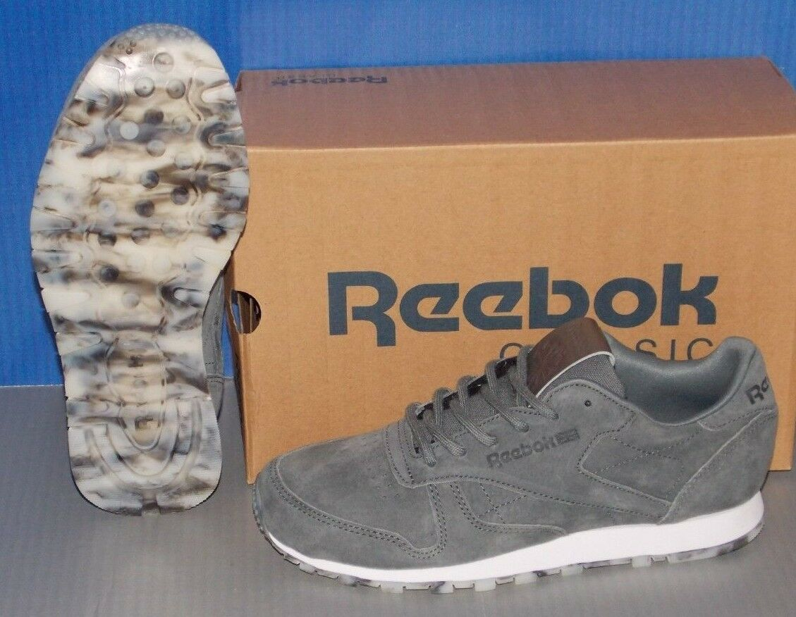 Damenschuhe REEBOK CL LEATHER ALLOY SHMR in colors ALLOY LEATHER GREY / Weiß / PEWTER SIZE 7.5 1d799c