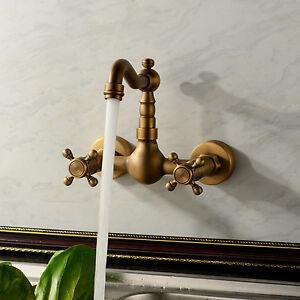 Sale Antique Double Handle Wall Mount Kitchen Faucet Mixer Tap Brass