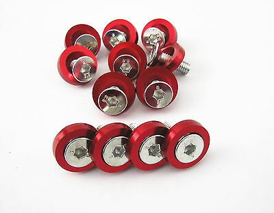 10 Pcs M6 x 20MM New Red Billet Fender Washers Bolts Engine Screw Dress Up Kit