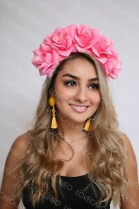 Image is loading Pink-Rose-Flower-Crown-Wedding-Festival-Headband-Floral- 954f1378dc9