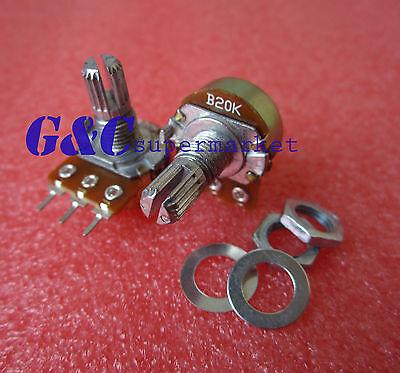 10pcs 20K Ohm B20K Knurled Shaft Linear Rotary Taper Potentiometer