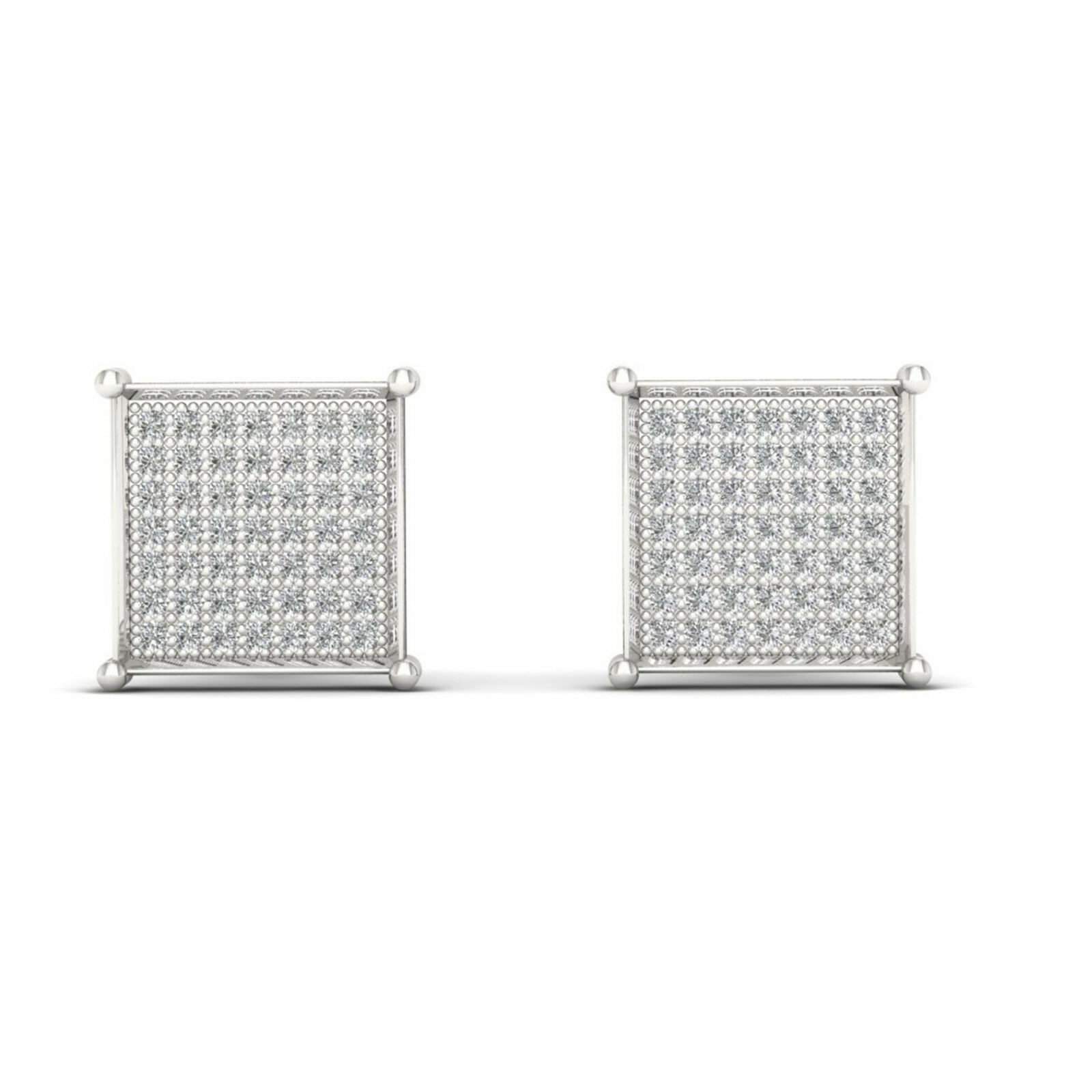 10k White gold 0.33 Ct Brilliant Diamond Cluster Stud Earrings