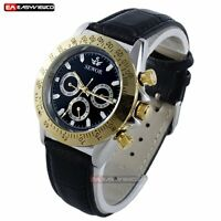 Vintage New Luxury Leather Mechanical Automatic Wrist Watch Stainless Black Mens