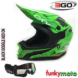 3go Xk188 Rocky Garçons Et Filles Casque Vert Motocross Quad Atv Ece
