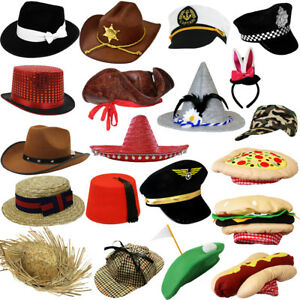 5eee9373b29 Image is loading FANCY-DRESS-HATS-CHOOSE-FROM-NOVELTY-CHARACTER-PHOTOBOOTH-
