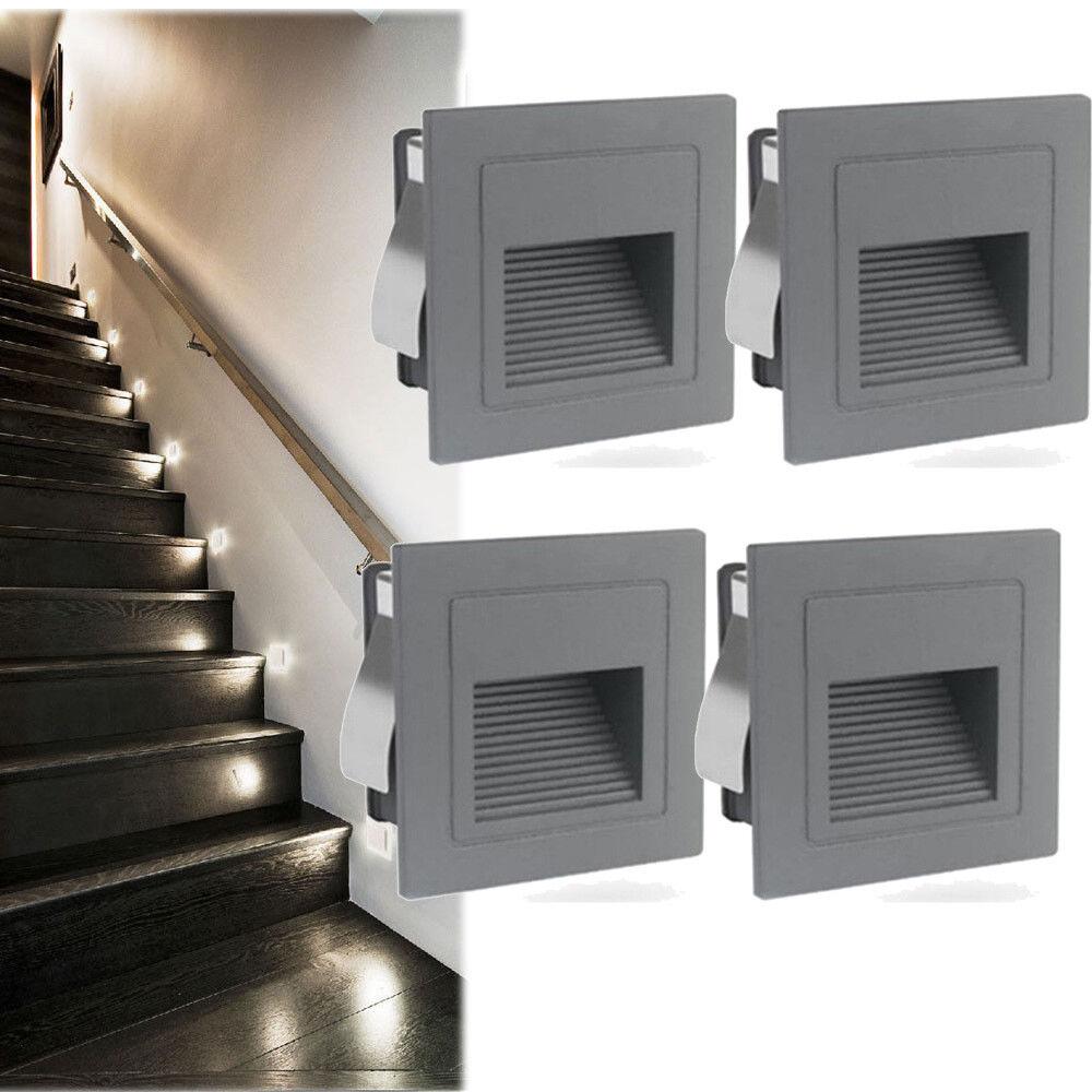 LED Wandeinbauleuchte Treppenlicht Stufenlicht Lampe Alu 230V Grau Wasserdicht