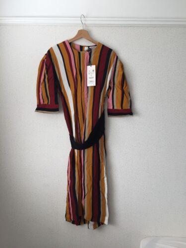 Nuovo Winter Striped Autumn 99 Studio 89 M Midi etichette Dress Size Zara con OBwqZx5q