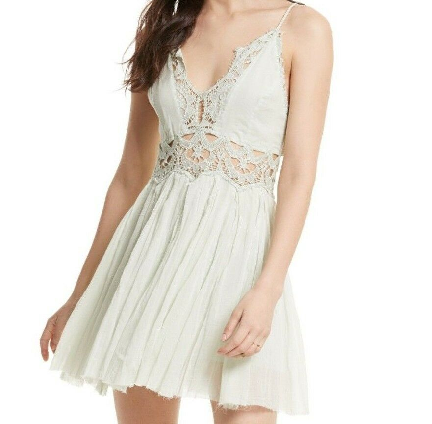 NWT FREE PEOPLE SzL ILEKTRA SLEEVELESS INSET CROCHET WAIST MINI DRESS MINT