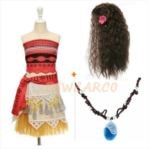 Girls Toddler Movie princess Moana Cosplay lot Dress halloween Costume wig