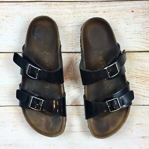 6e82b5886671 Image is loading Birkenstock-Papillio-Womens-Black-Patent-Leather-Footbed- Sandals-
