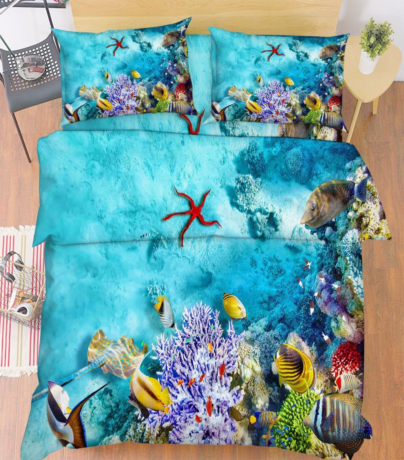3D Starfish Fishs 5 Bed Pillowcases Quilt Duvet Cover Set Single Queen King AU