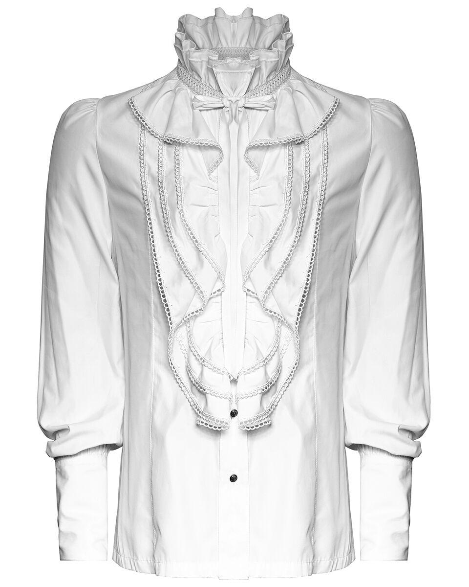 Punk Rave  Herren Shirt Top Weiß Gothic Steampunk VTG Regency Aristocrat Victorian