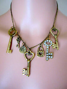 Gorgeous-Charm-Necklace-21st-Gift-Gold-Tone-Metals-Right-on-Trend-Sexy-Stylish