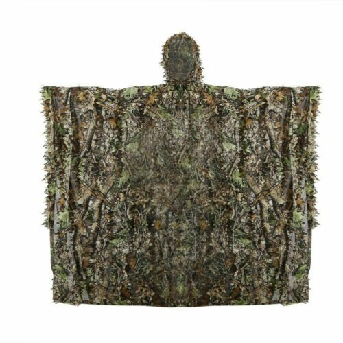 3D Leave Camo Poncho Cloak Stealth Ghillie Suit Outdoor Woodland Sniper Clothing