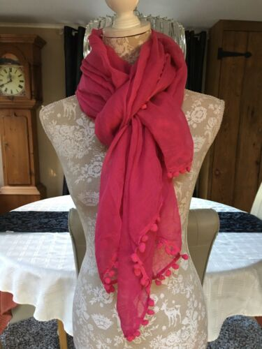 DESIGNER LARGE HOT PINK POMPOM MULTI WAY LONG SARONG PAREO BEACH WRAP COVER UP
